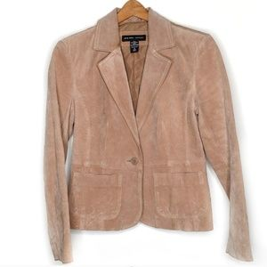 New York & Company Suede Leather Blazer Tan 6